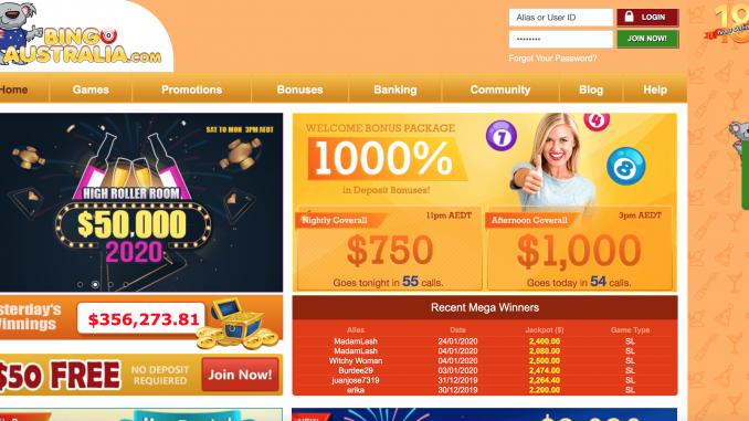 bingo australia screenshot